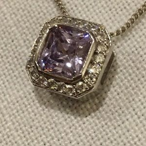 Sterling Silver Purple stone necklace 18""